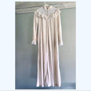 Vintage Victorian style terry cloth half zip robe